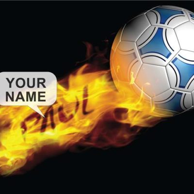 a3 flaming football poster in a black frame