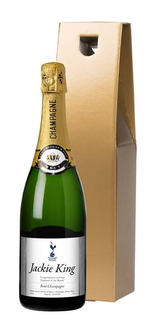 personalised champagne spurs silver swirls in a gold gift box