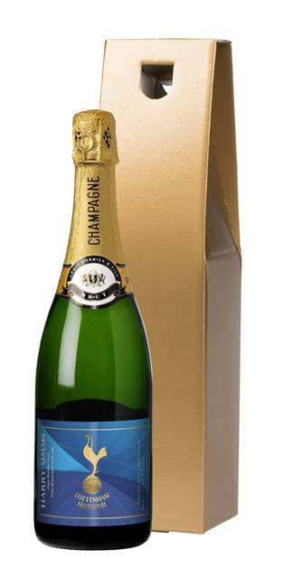 personalised spurs blue champagne label in a gold gift box