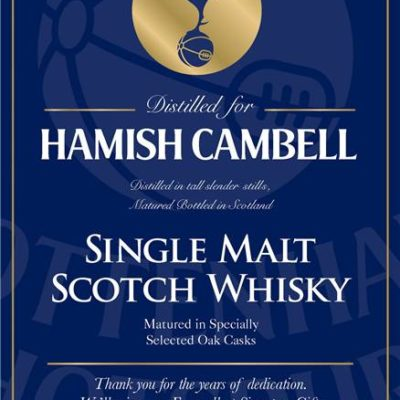 personalised spurs blue labels for single malt whisky