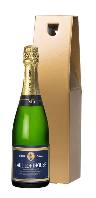 personalised spurs cava blue label in a gold gift box