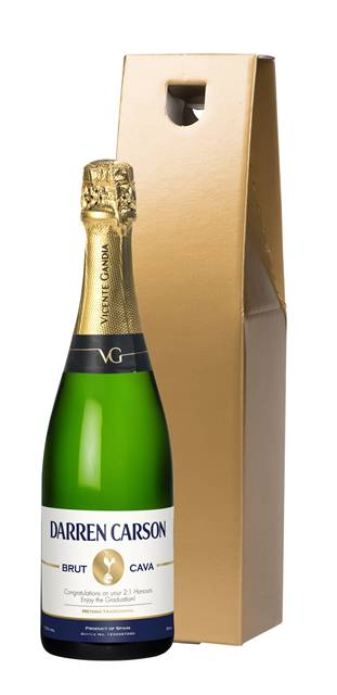 personalised spurs cava stripe label in a gold gift box