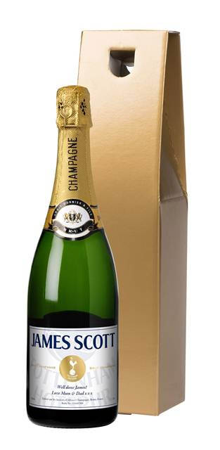personalised spurs champagne white label in a gold gift box
