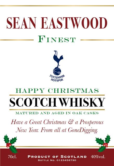 personalised spurs christmas labels for blended whisky