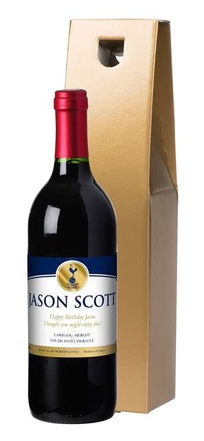 personalised spurs french ac red wine gold label in a gold gift box