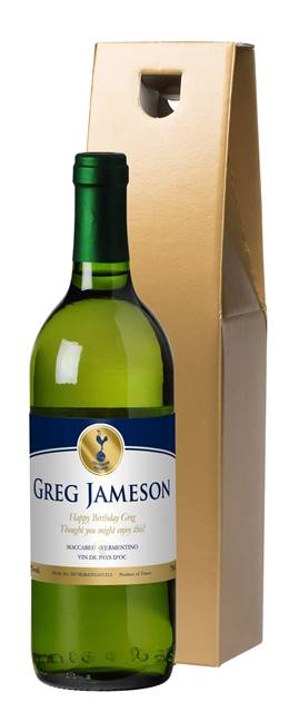 personalised spurs french ac white wine gold in a gold box