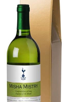 personalised spurs french ac white wine ribbon design in a gold box