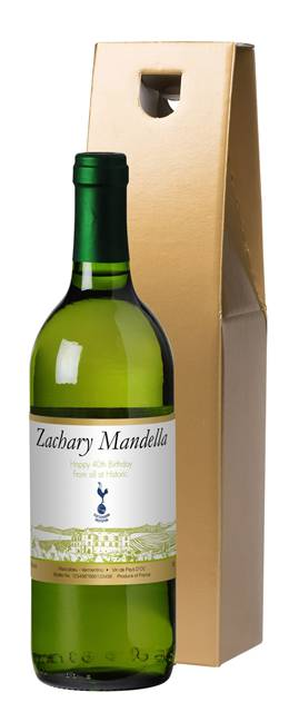 personalised spurs french ac white wine vineyard in a gold box