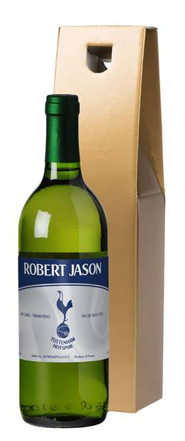 personalised spurs french ac white wine vintage in a gold box