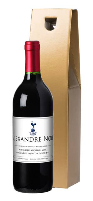 personalised spurs french vdp red wine classic label in a gold box