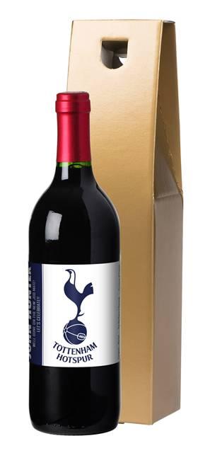 personalised spurs french vdp red wine simply label in a gold box