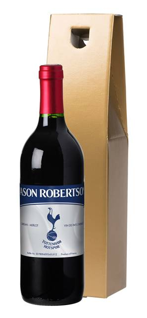personalised spurs french vdp red wine vintage label in a gold box