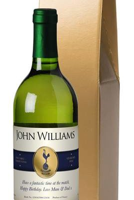 personalised spurs french vdp white wine blue band in a gold box