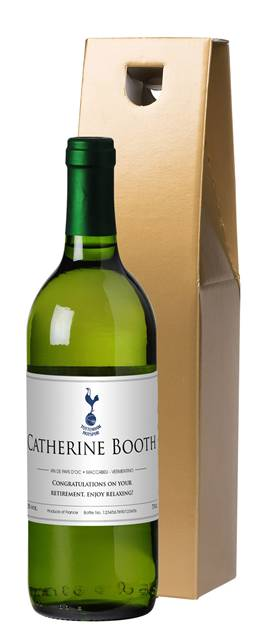 personalised spurs french vdp white wine classic in a gold box
