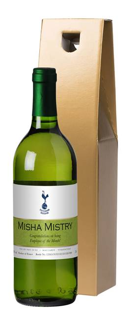 personalised spurs french vdp white wine ribbon design in a gold box