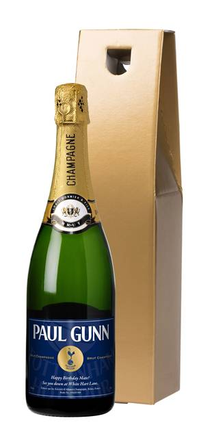 personalised spurs vintage champagne label in a gold gift box