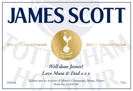 personalised spurs white labels for champagne 1