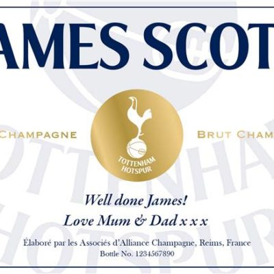 personalised spurs white labels for champagne