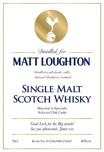 personalised spurs white labels for single malt whisky