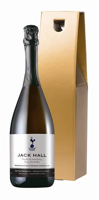 personalised spurs corporate prosecco with classic label in a gold box