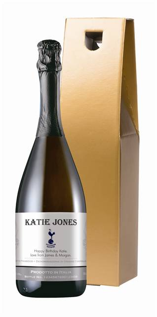 personalised spurs corporate prosecco with traditional label in a gold box