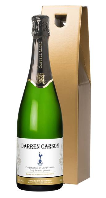 personalised spurs cava traditional label in a gold gift box