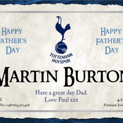 personalised fathers day spurs cider label