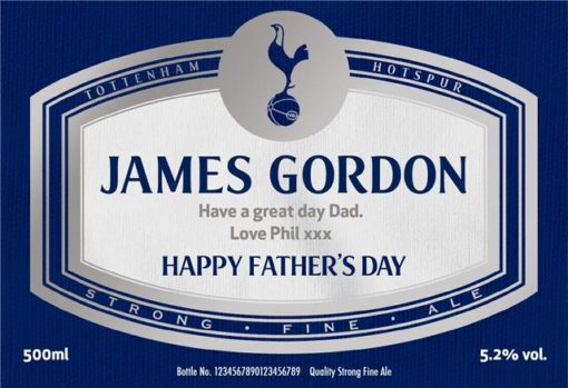 personalised spurs beer fathers day label