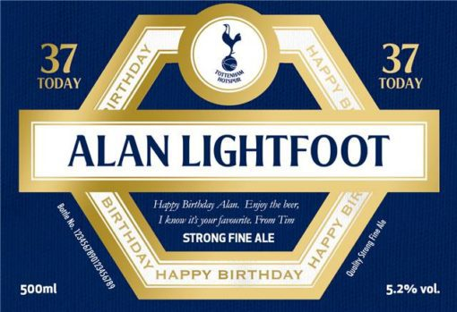 personalised spurs birthday labels for beer