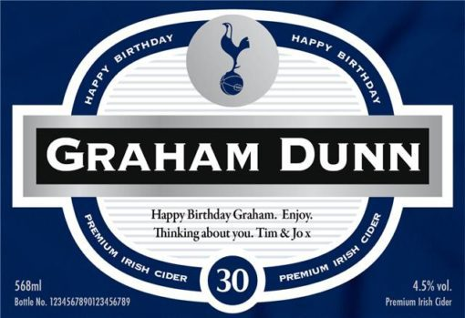 personalised spurs birthday labels for cider 1