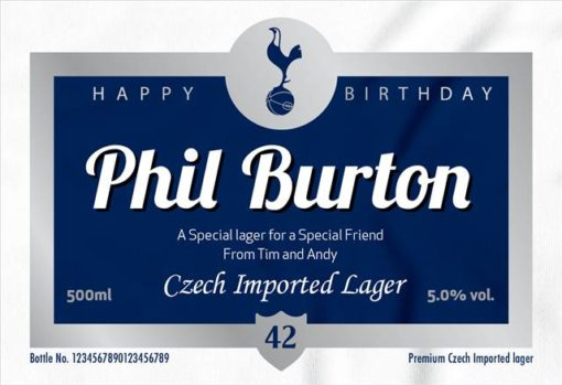 personalised spurs birthday labels for lager