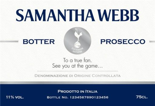 personalised spurs blue stripe label for prosecco