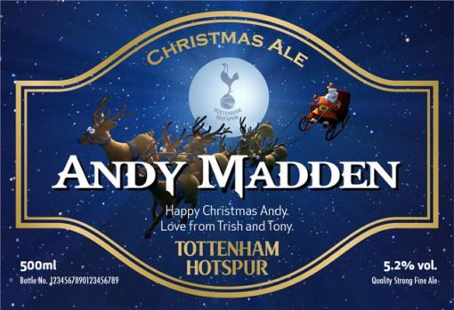 personalised spurs christmas labels for beer