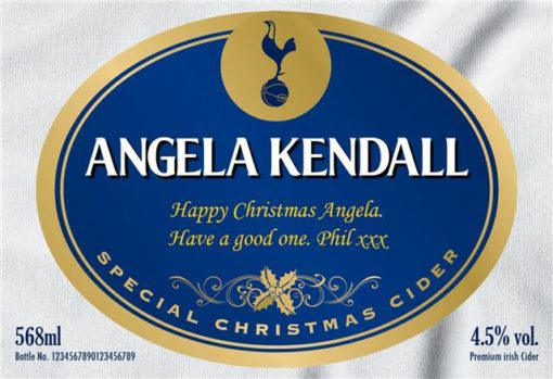 personalised spurs christmas labels for cider 1