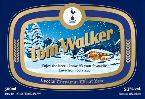 personalised spurs christmas labels for wheat beer