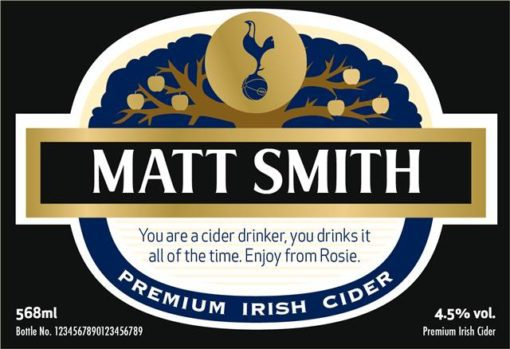 personalised spurs cider traditional label