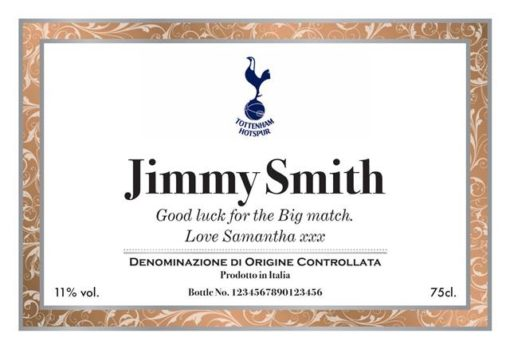 personalised spurs corporate framed label for prosecco