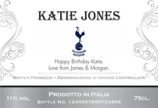 personalised spurs corporate traditional label for prosecco
