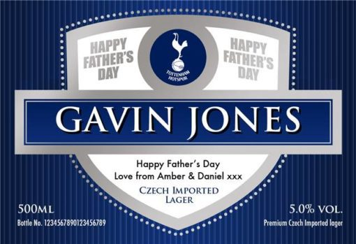 personalised spurs fathers day labels for lager