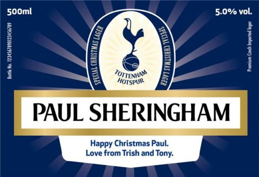 personalised spurs lager christmas label