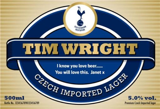 personalised spurs lager modern label