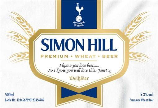 personalised spurs modern labels for wheat beer