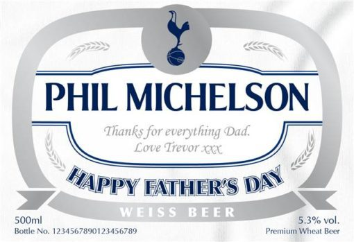 personalised spurs wheat beer fathers day label