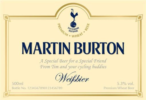 personalised spurs wheat beer traditional label
