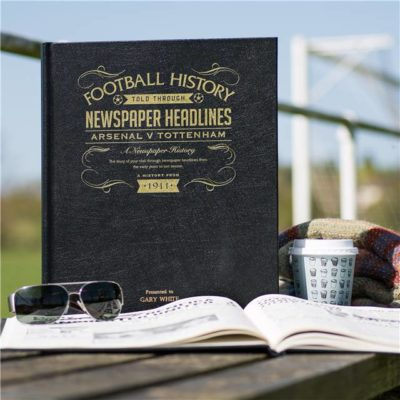 arsenal v spurs derby newspaper book black leather cover