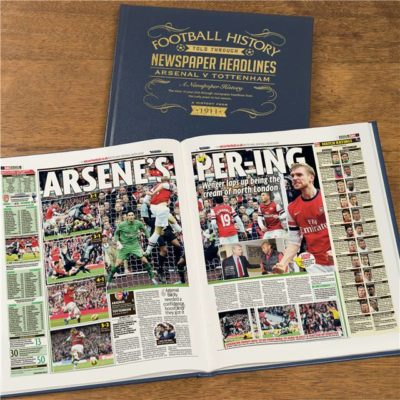 arsenal v spurs derby newspaper book blue leather cover