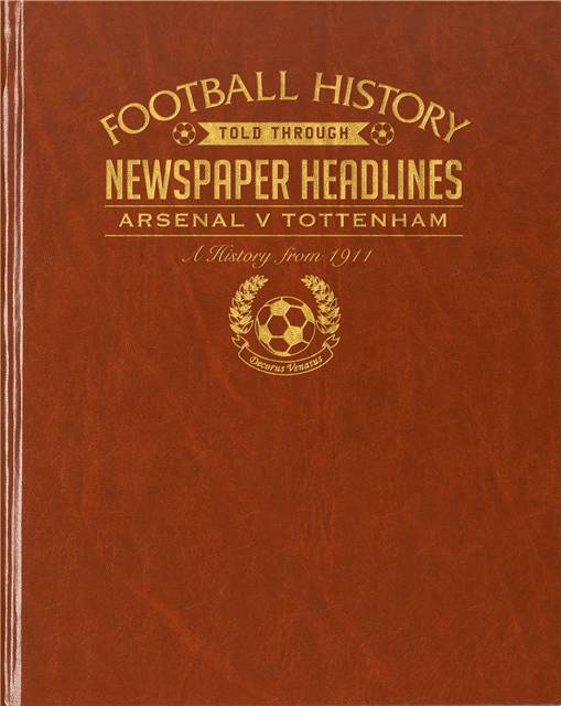 arsenal v spurs derby newspaper book brown leatherette colour pages