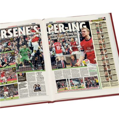 arsenal v spurs derby newspaper book red leather cover