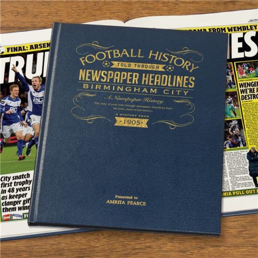 birmingham football newspaper book blue leather cover