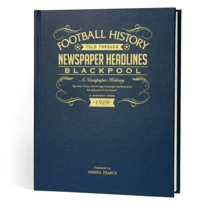 blackpool football newspaper book blue leather cover